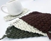 Set of 4 Cotton Mug Rugs in green brown and speckled green/brown/cream