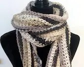 Long Classic Style Boho Scarf in black gray ivory beige