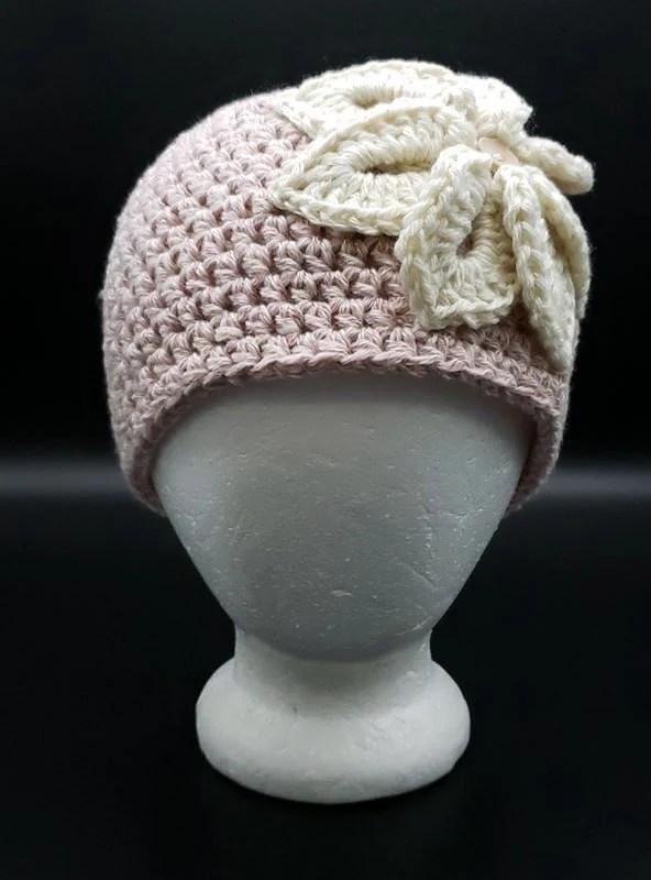 Denim in Color Flower Beanie in 'Pink'