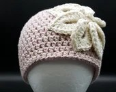 Denim in Color Flower Beanie in 'Pink'