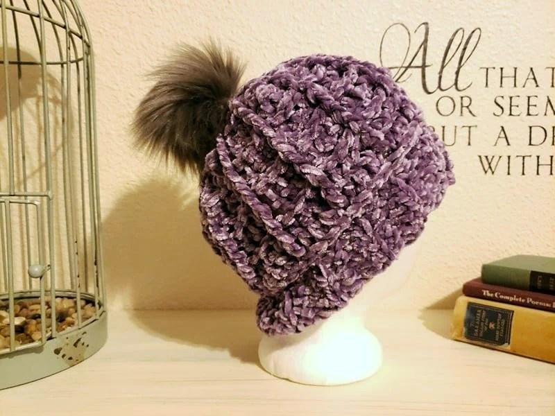 Purple Velvet Slouch w/Pom Pom