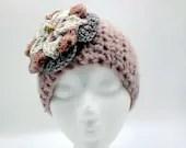 Pink button-closure ear warmer w/pink ivory lavender flower size 18 - 24 months