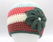 Flower Beanie in 'Strawberry Chill'