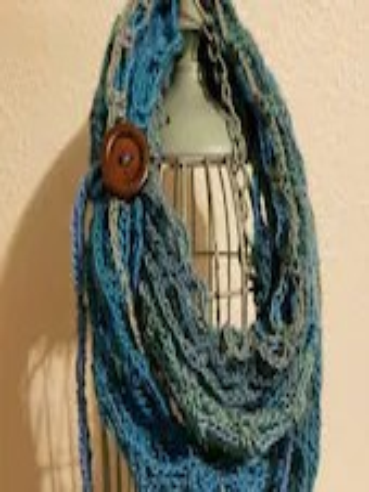 Fashion Crochet Scarf in 'Tidal' w/Tie & Button