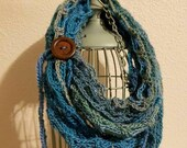 Fashion Crochet Scarf in 'Tidal' w/Tie & Button