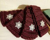 Thick Ear Warmer in 'Merlot' w/Rhinestone Snowflake