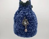 Velvet Royal Blue Drawstring 20s Evening bag w/Beaded Embellishments