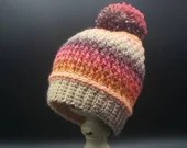 Baby Beanie Size 3 - 6 Months in 'Cherry on Top' w/pom pom