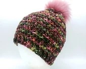 Merino Wool Beanie in 'Prom Corsage' with pink pom pom