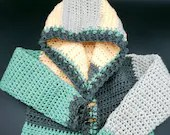 Crochet Patchwork Hoodie in 'Spring' - Size 2/3T