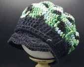 Toddler Cotton Newsboy Cap Size 12-24 Months in 'Emerald City' with black buttons