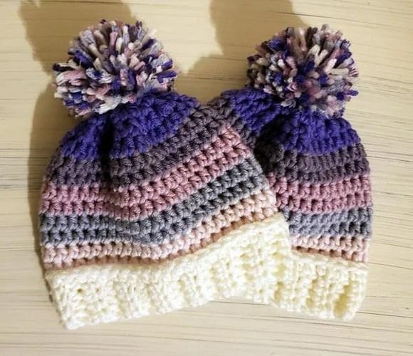 0-3 months Winter Hat w/pom pom
