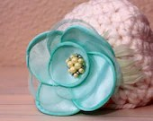 Newborn Baby Girl Beanie w/Silk Flower