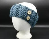 Thick Ear Warmer in 'Denim' w/buttons