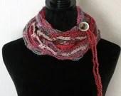 Fashion Crochet Scarf in 'Heirloom' w/Tie & Button