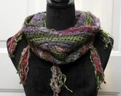 Green and Purple Funky Cowl with fringe in 'Wizard'