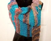 Illusion Asymmetrical Shawl/Scarf in teal, red, brown, purple with Scarf Pin