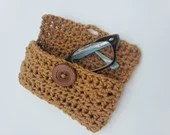 Handmade Crochet Glasses Case with button closure in caramel brown