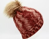 Desert Strata Merino Wool Beanie w/Pom Pom