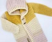 Crochet Patchwork Hoodie in 'Crocus in Focus' - Size 2/3T mustard and pink