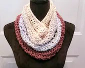 Unfringed Cowl in 'Rasberry Fingers' bamboo color way with beige, blue, green, burgundy