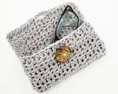 Handmade Crochet Glasses Case with button closure in gray