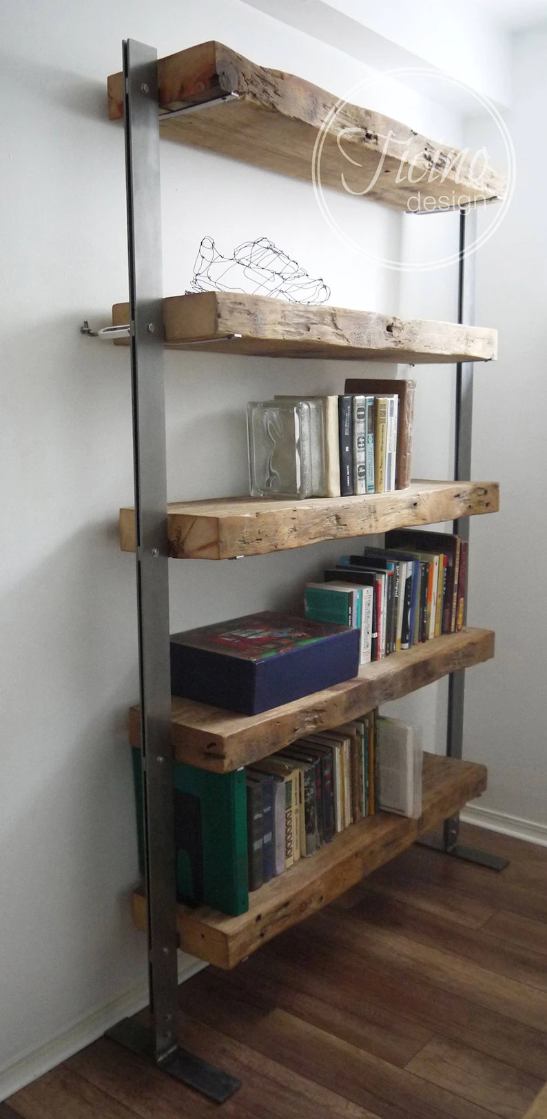 Reclaimed Wood Bookcase Wood And Metal Shelves Industrial Shelving Unit Rustic Wood Shelves Book Shelves Industrial Furniture