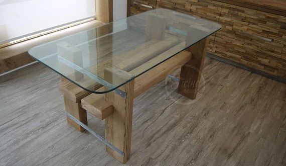 reclaimed wood dining table glass top dinning table reclaimed wood furniture modern table rustic table breakfast table kitchen table