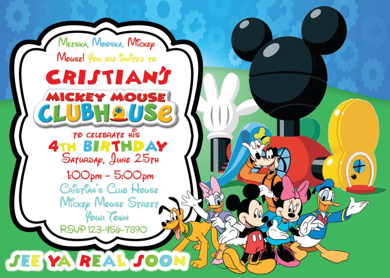 Mickey Mouse Birthday Invitation Mickey Mouse Club House Invite Printable Digital Invitations