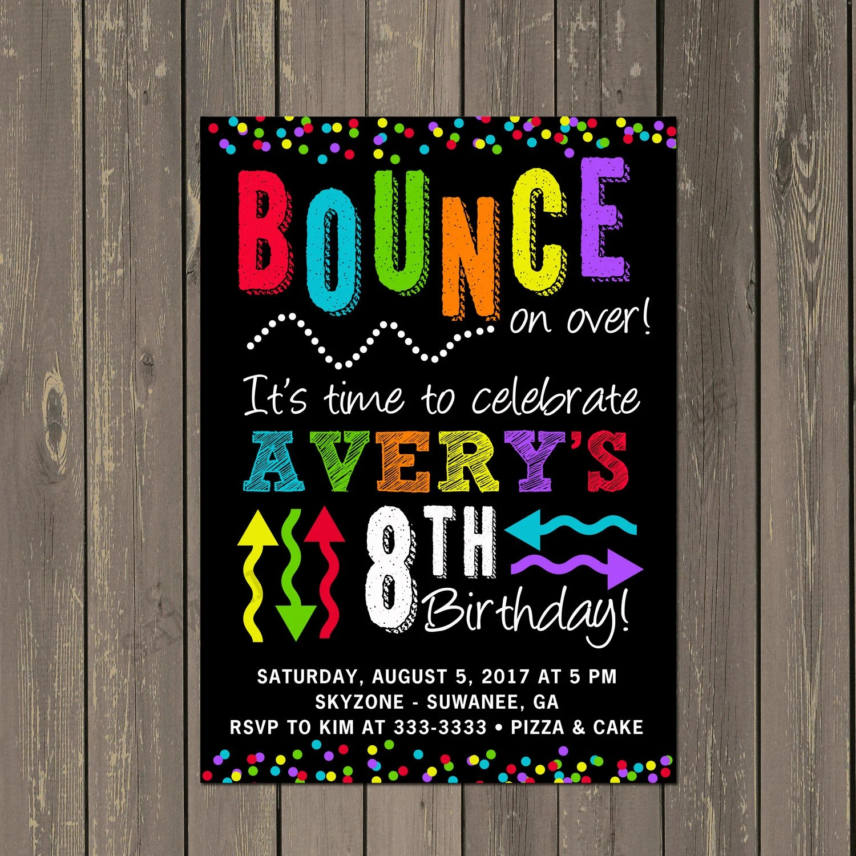 Bounce Party Invitation Trampoline Park Birthday Party Etsy