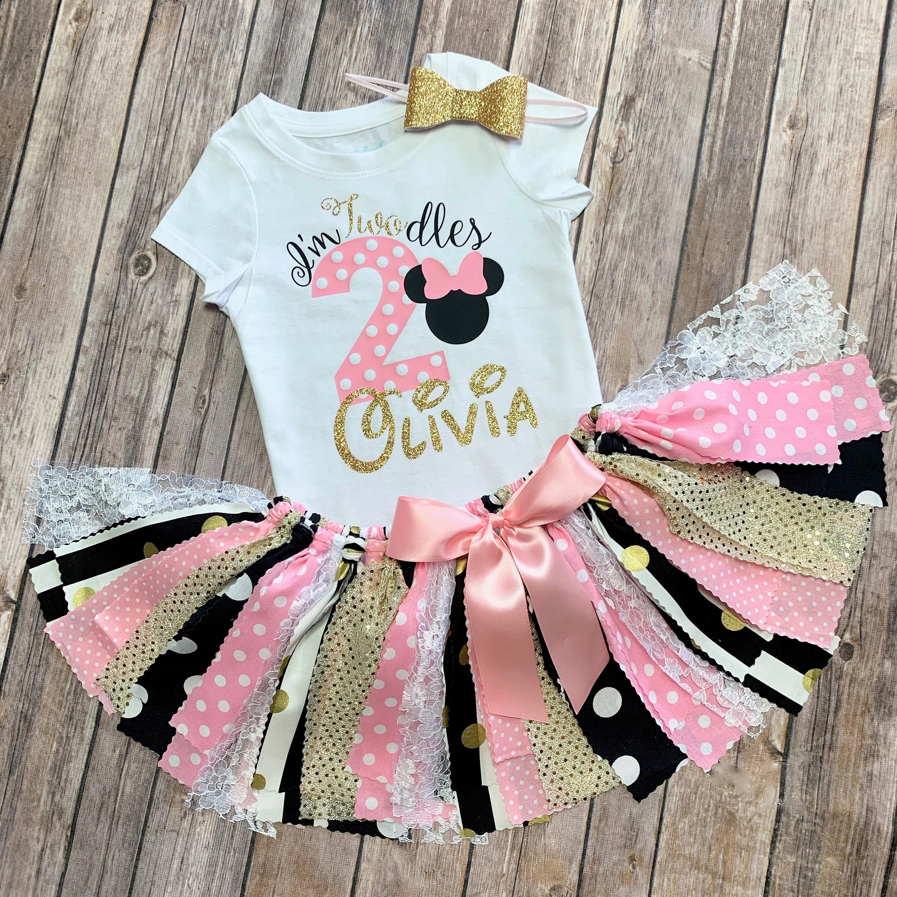 2 Year Old Minnie Mouse Twodles Birthday Outfit Light Pink Etsy