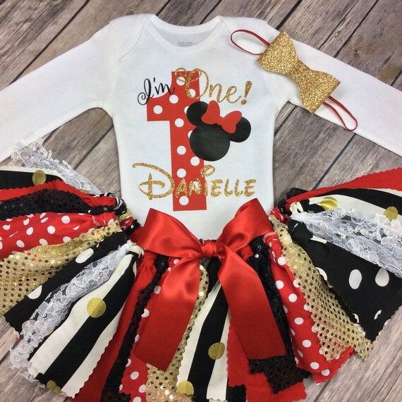 Personalized Minnie Mouse Birthday Outfit Red Black And Etsy