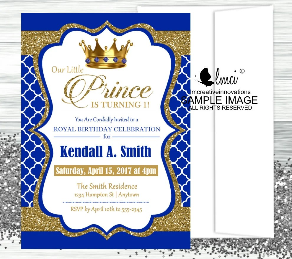royal prince birthday invitation digital file or printed