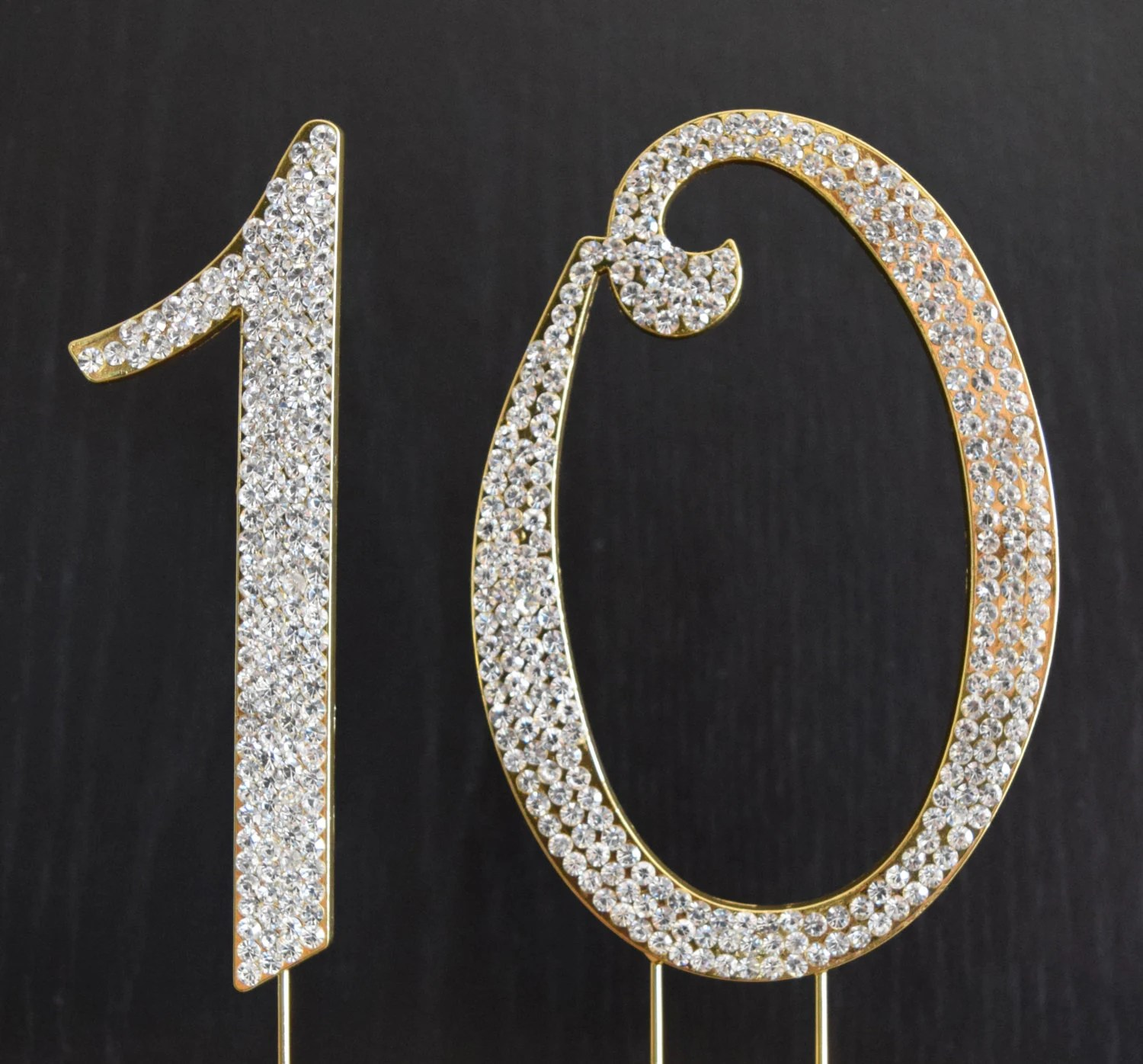 Rhinestone Gold Number 10 Cake Topper 10th Birthday Party