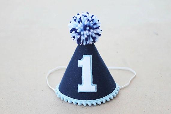 Boy 1st Birthday Hat Navy And Blue Felt Small Party Hat Etsy