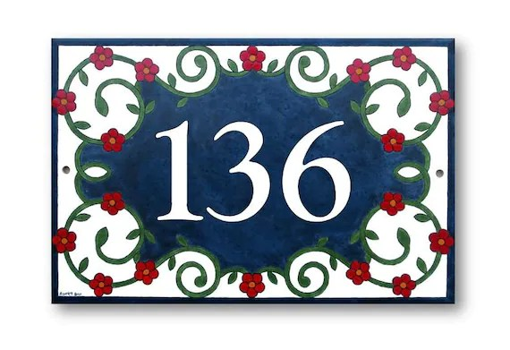 house numbers sign address plaque ceramic sign painted etsy