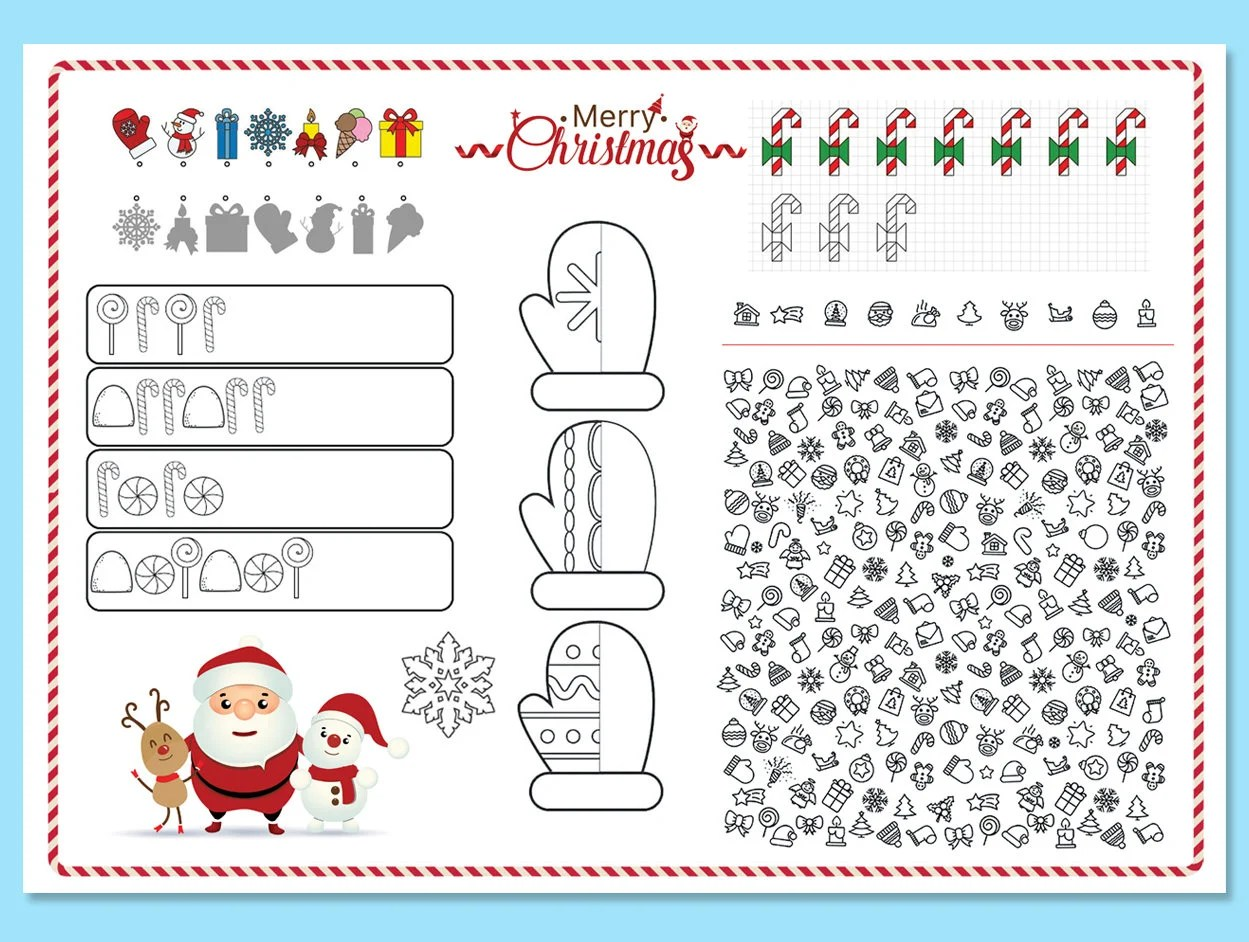 Christmas Printable Placemat Kids Activity Table Mat