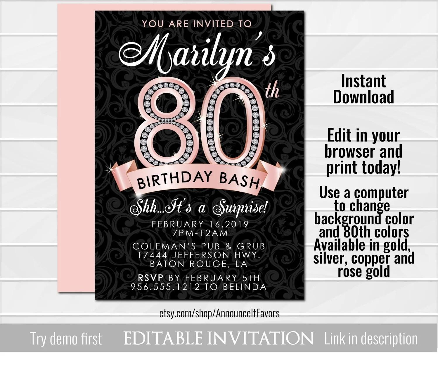 80th birthday invitation adult