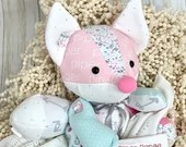 PREEMIE Memory Fox, Actual birth height, actual birth weight, Weighted memory fox, micro preemie gift, bereavement gift, micro preemie