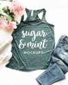 Forest Green Marble Racerback Tank Top Mockup Bella Canvas Etsy