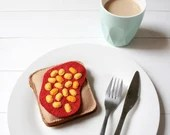 Felt Baked Beans on Toast, Pretend Food, Play Food, Felt Breakfast Play Set, Beans on Toast