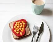 Felt Baked Beans on Toast, Pretend Food, Play Food, Felt Breakfast Play Set, Beans on Toast