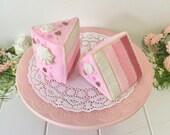 Felt Play Food, Ombre Cake Slice, Felt Layer Cake, Play Food, Pretend Food, Pretend Play, Layered Cake, Tea Party, Sprinkles, Play Kitchen