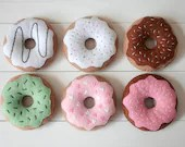 Felt Donuts, Set of 6 Donuts for Pretend Play, Pretend Food, Felt Food, Play Food, Tea Party, Strawberry Vanilla Chocolate Mint Hearts