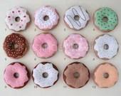 Felt Donuts, SET OF 12 for Pretend Play, Felt Food, Play Food, Tea Party, Sprinkles, Raspberry Strawberry Vanilla Chocolate