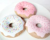 Felt Donuts - Set of 3 Donuts for Pretend Play, Felt Food, Play Food, Tea Party, Raspberry Strawberry Vanilla Icing Sprinkles Doughnuts