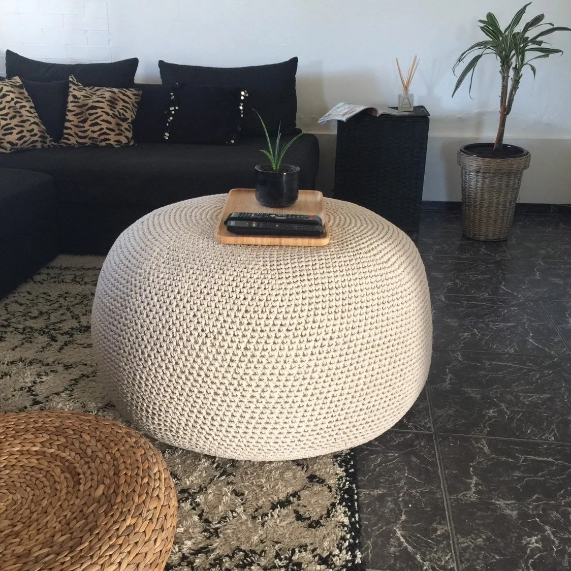 large round ottoman coffee table giant crochet pouf xxxl knitted bean bag chair modern living room decor