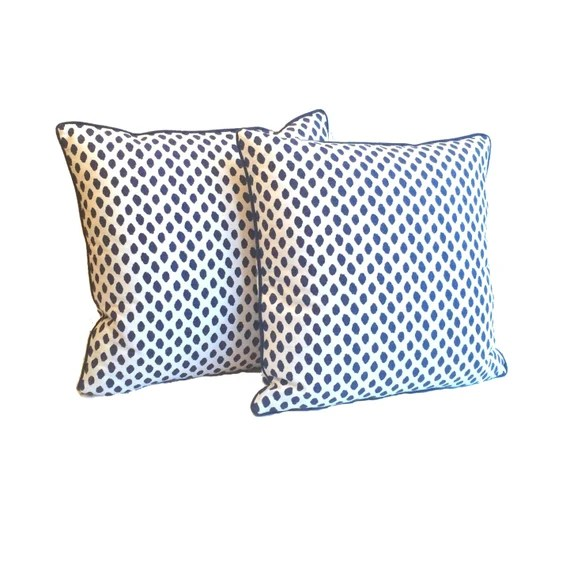 "Navy and white Decorative Pillows – Blue and White Dotted Pattern- Designer Fabric- 20"" Pillows - Hidden Zipper Closure"