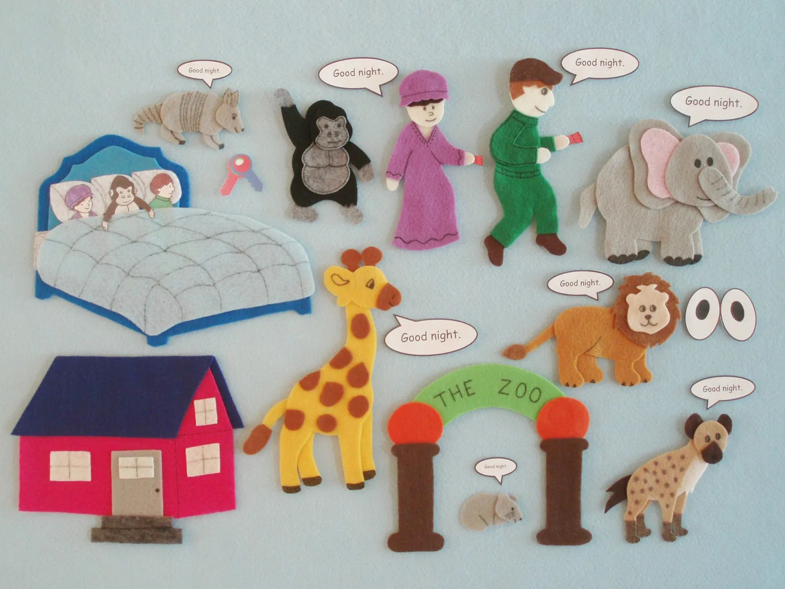 Goodnight Gorilla Felt Flannel Board Story Felt Animals
