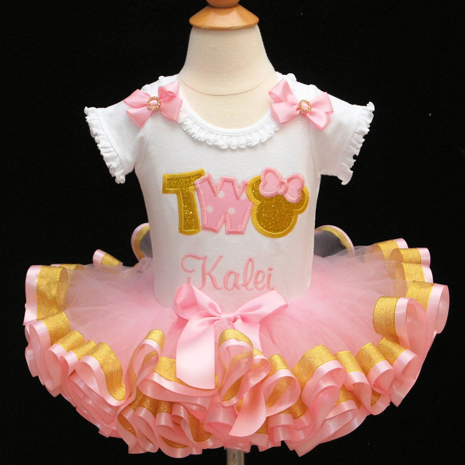 Clothing Clothing Sets Pink And Gold Birthday Outfit Minnie Mouse 2nd Birthday Outfit Girl Pink And Gold Tutu Outfit Ribbon Trim Tutu Birthday Outfit Tutu Dress